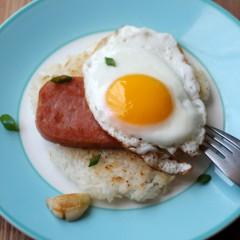 Spam & Egg On A Crispy Fried Rice Cake