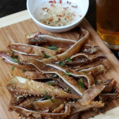 Crispy Pig's Ears Cooked Sous-vide in Coconut Oil Confit, then Deep Fried