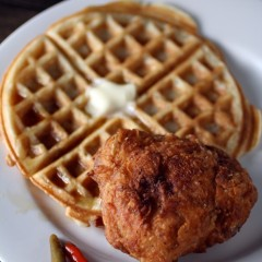 Filipino-Style Chicken & Waffles: Sous-vide Coconut Milk Fried Chicken with Coconut Milk and Macapuno Waffles