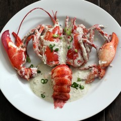 Ginataang Lobster: Coconut Oil-Poached Lobster Tails in Sous-vide, with Coconut Milk and Lobster Head Sauce
