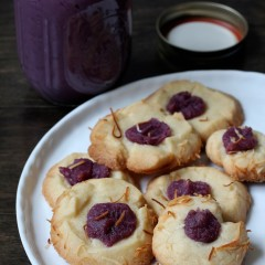 Toasted Coconut Thumbprint Cookies with Rum & Ube Jam